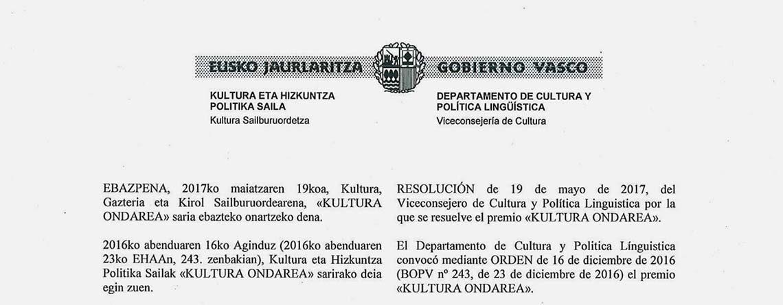 """Ebazpena, Kultura, Gazteria eta Kirol Sailburuordearena, """"Kultura Ondarea"""" saria ebazteko onartzeko dena"""
