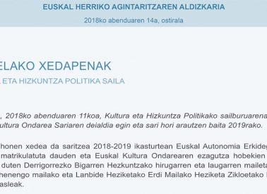 Agindua  Kultura  Ondarea  Saria  2019