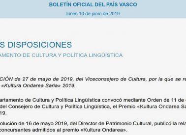 Ebazpena  Kultura  Ondarea  Saria  2019