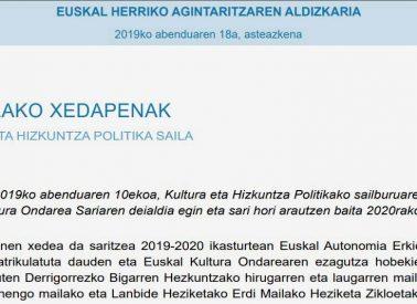 Convocatoria premio Kultura Ondarea Saria 2020